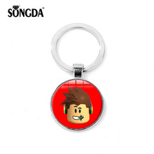SONGDA Roblox Keychain 13 Style Cartoon Game Poster Round Glass Cabochon Pendant Key Ring School Bag Charm Car Key Accessories(China)