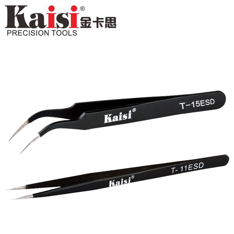 kaisi T-11 T-15 ESD Anti-magnetic Stainless Steel Straight Tweezers Anti Static ESD Safe with Precision Fine Tip