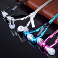 5pcs Metal Zipper Luminous Earphones Glow In The Dark Headphones Glowing Stereo Bass Sport Running Headset With MIC 3.5mm Earbus