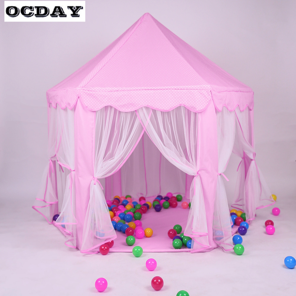Girls Pink Play Tents Toy Lovely Princess Castle Playhouse Portable Play Tent Teepee Tipi Outdoor Toys For Children Kids Gift yard indian pattern children toy tent teepees safety tipi portable playhouse kids teepee tents