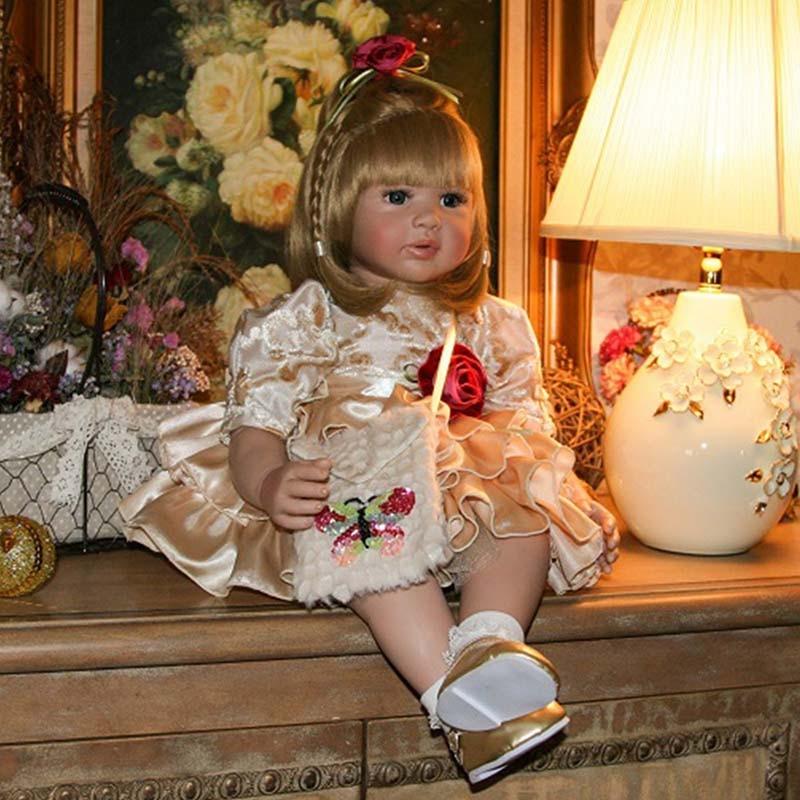 ตุ๊กตาเด็กทารก Reborn ตุ๊กตาซิลิโคนอ่อน 22 นิ้ว 55 เซนติเมตรสมจริง & เหมือนจริง Handmade Alive ของเล่น Happy ตุ๊กตาเด็กวันเกิดไวนิลของขวัญ-ใน ตุ๊กตา จาก ของเล่นและงานอดิเรก บน   1