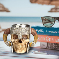 3D Skull Cup Coffee Mug Resin Striking Warrior Tankard Viking Skull Double Wall Christmas Cup