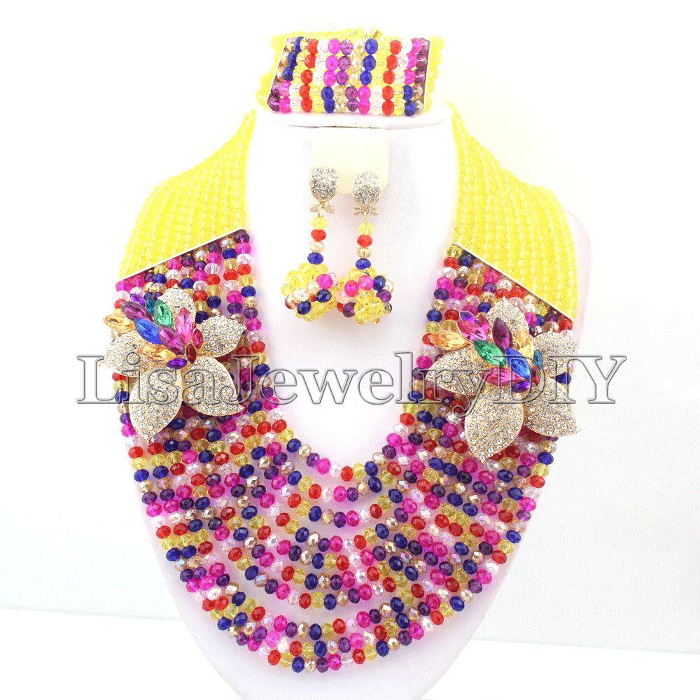 Multicolor African Beads Jewelry Set Nigerian Wedding African Crystal Beads Jewelry Set African Jewelry Sets   HD2186Multicolor African Beads Jewelry Set Nigerian Wedding African Crystal Beads Jewelry Set African Jewelry Sets   HD2186