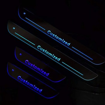 RQXR led moving door scuff for Ford dynamic door sill plate flat lining overlays flowing light multi colors