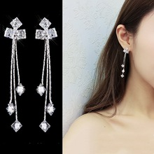 New S925 Pure Silver Needle Earring Fringed Long  Earrings for Women Drop Jewelry