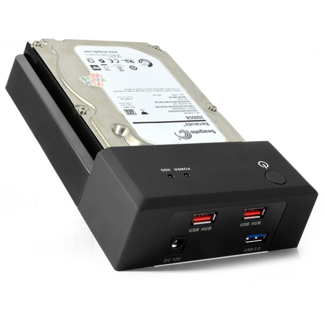 USB 3.0 para SATA Docking Station Disco Rígido Externo para 2.5 ou 3.5in HDD com USB 2 Hub De Carga, SATA III HDD de Lay-Flat Docking