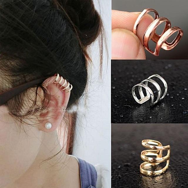 Cindiry Women Gold Silver Clip Earrings No Hole S Punk Without Piercing Dangle Cuff