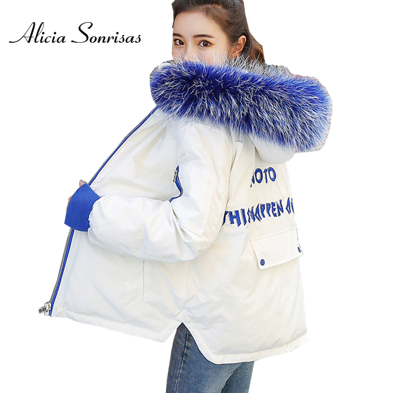 Women's Short Blue Fur Hooded Down Jacket Cotton Padded Coat Winter Warm Letter Embroidery   Parkas   AS8812