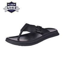 купить Breathable summer mens flip-flops leather slippers soft soles sandals Sneakers Men Slippers casual Shoes beach outdoor anti-skid дешево