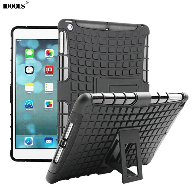 New 2016 Heavy Duty Impact Hybrid Armor Cover Hard Plastic Case For Apple iPad Air With Kickstand Cases Cover Coque IDOOLS tire style tough rugged dual layer hybrid hard kickstand duty armor case for samsung galaxy tab a 10 1 2016 t580 tablet cover