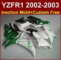 Зеленый белый части тела для Yamaha YZF R1 2002 2003 YZF R1 02 03 YZF1000 02 03 moid Обтекатели пользовательские наборы обтекателей + 7 подарки