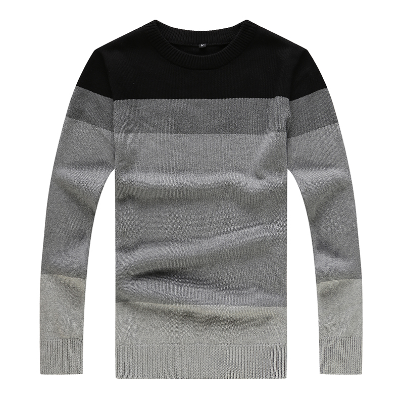 Left ROM Autumn Winter Mens Fashion Boutique Cotton Contrast Color Round Collar Business Knitting Sweater / Men Casual Sweater