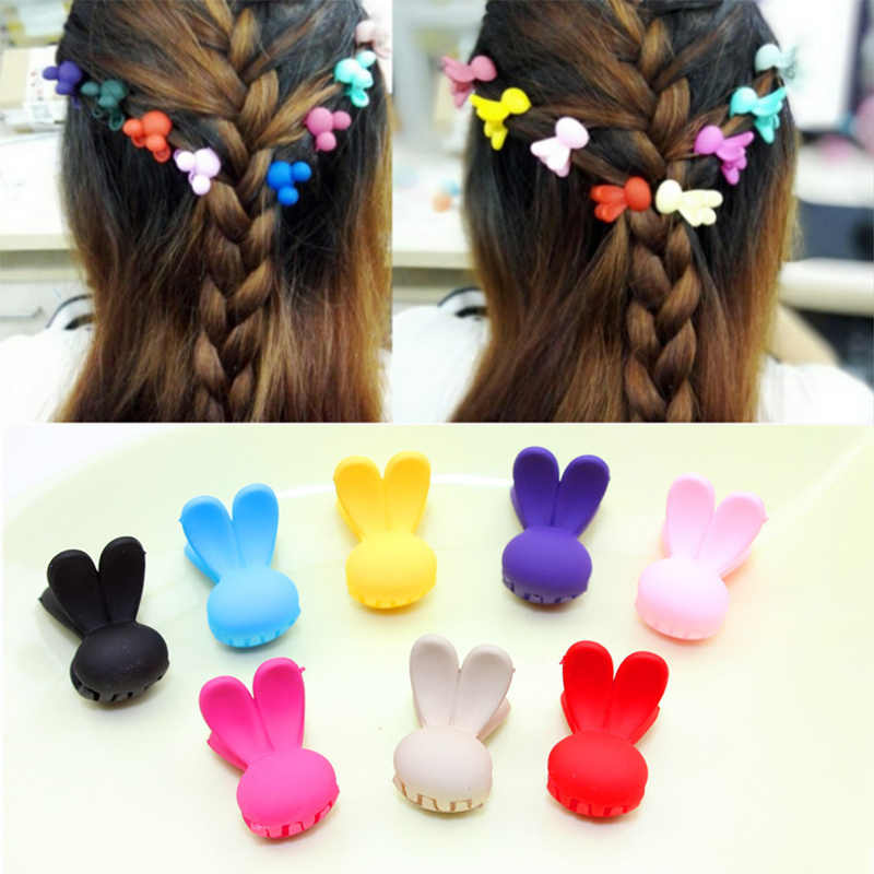 10 pcs New Fashion Baby Girls Small Hair Claw Cute Candy Color Rabbit  Hair Children Hairpin Hair Accessories Wholesale