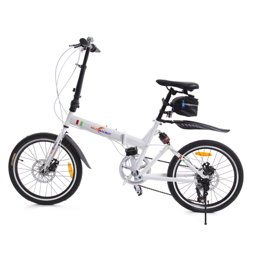 (Ship from Germany) Adult 20 inch Disc Brake Folding Bike 6 Speed Bicycle Equipped with LED Battery Light hot sale 2017 new 20 inch children mountain bike kids folding bicycle disc brake speed outdoor sports bicicleta free shipping