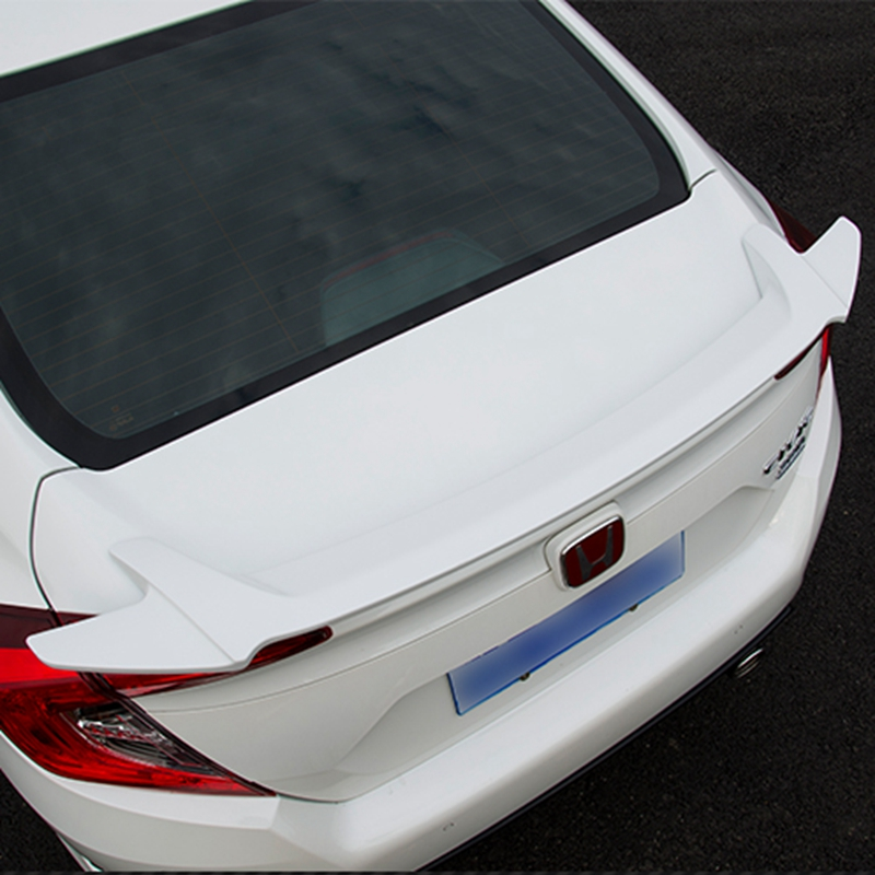 For Honda Civic 2016 2017 Rear Wing Spoiler, Trunk Boot Wings Spoilers paint ABS Screw fixing EMS transport paint abs car rear wing trunk lip spoiler for 16 17 toyota vios 2014 2015 2016 2017 by ems
