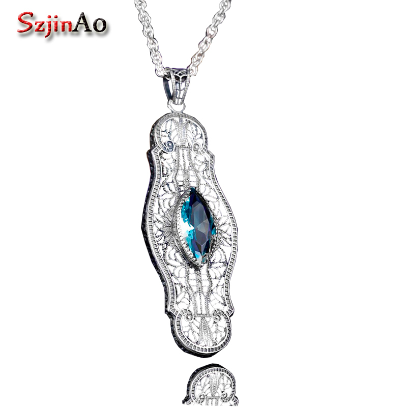 Szjinao Fashion women pendant hot sale 925 sterling silver aquamarine pendant luxurious wedding jewelry