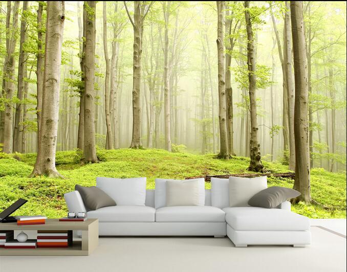Us 1491 48 Off3d Wallpaper Kustom Mural Non Woven 3d Pemandangan Padang Rumput Dinding Ruang Stiker 3 D Birches Kabut Lukisan 3d Dinding Mural In