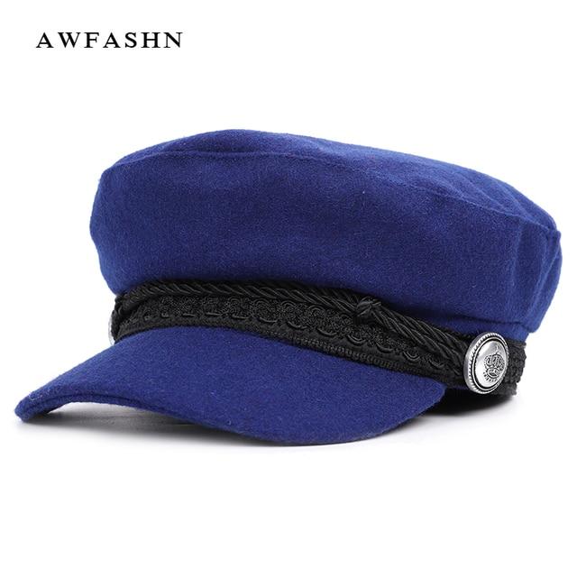 2018 nuevo Color sólido militar sombreros hombre mujer Lana boina casquillo  plano ocasional de las mujeres de3b88a29cd