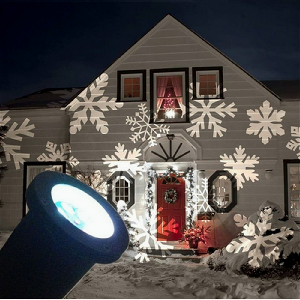 1X 220V Outdoor Christmas Led Light projector, Romantic White Snowflake projectors, Mini White Christmas lights US Plug ...