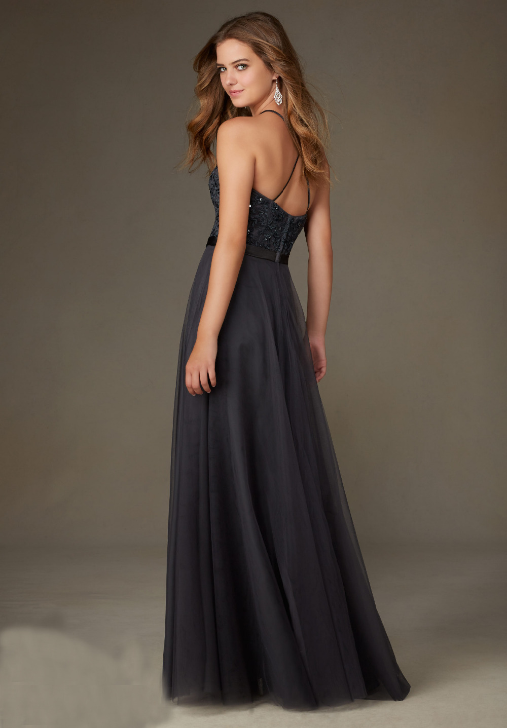 A Line High Neck Lace Sequins Backless Long Dark Grey Evening ...