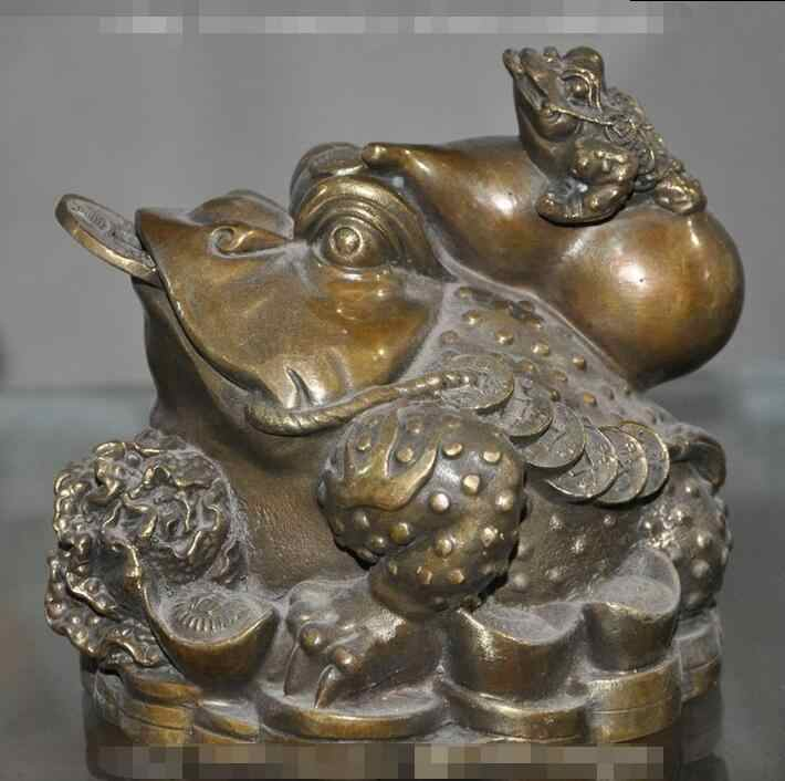 "6""china fengshui bronze wealth money coin ingot gold toad bufo frog gourd statue"
