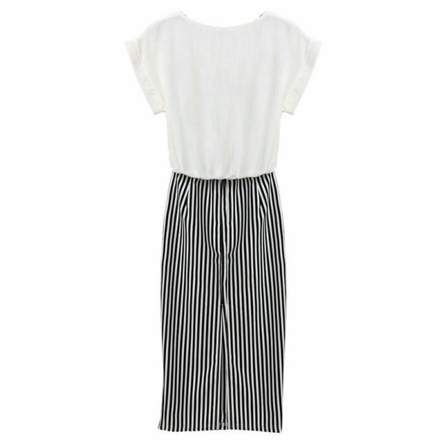 Women 2 in 1 One-piece Letter Print Striped Blouse Dress Midi Short Sleeve Bodycon Long Dress