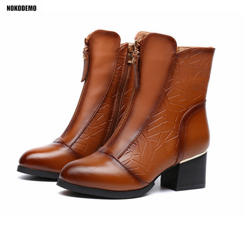 Women Ankle Boots Mid Square Heels Short Boots Shoes Woman Booties Genuine Leather for Autumn Winter enmayla autumn winter chelsea ankle boots for women faux suede square toe high heels shoes woman chunky heels boots khaki black