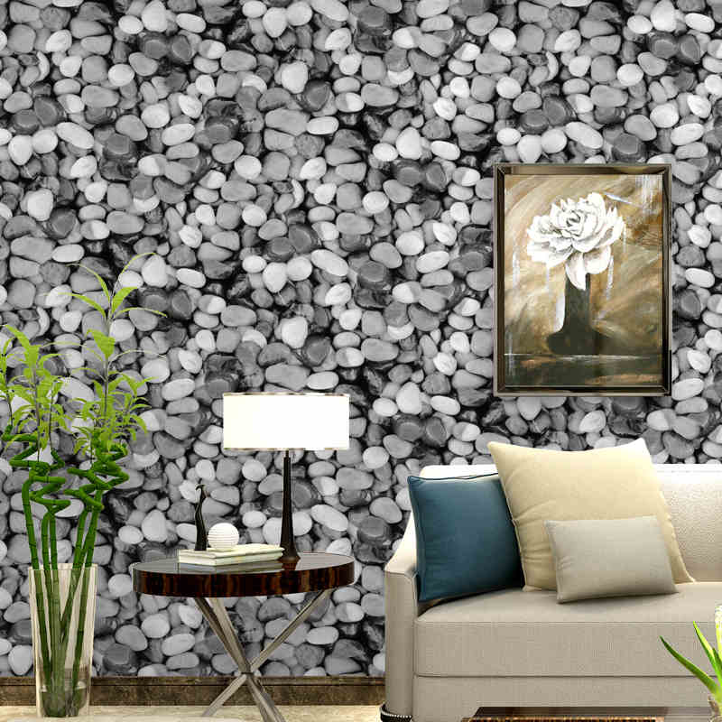 Stereo PVC Living Room Bedroom TV Background Wallpaper Gray Imitation Brick Retro Wall Paper Stickers