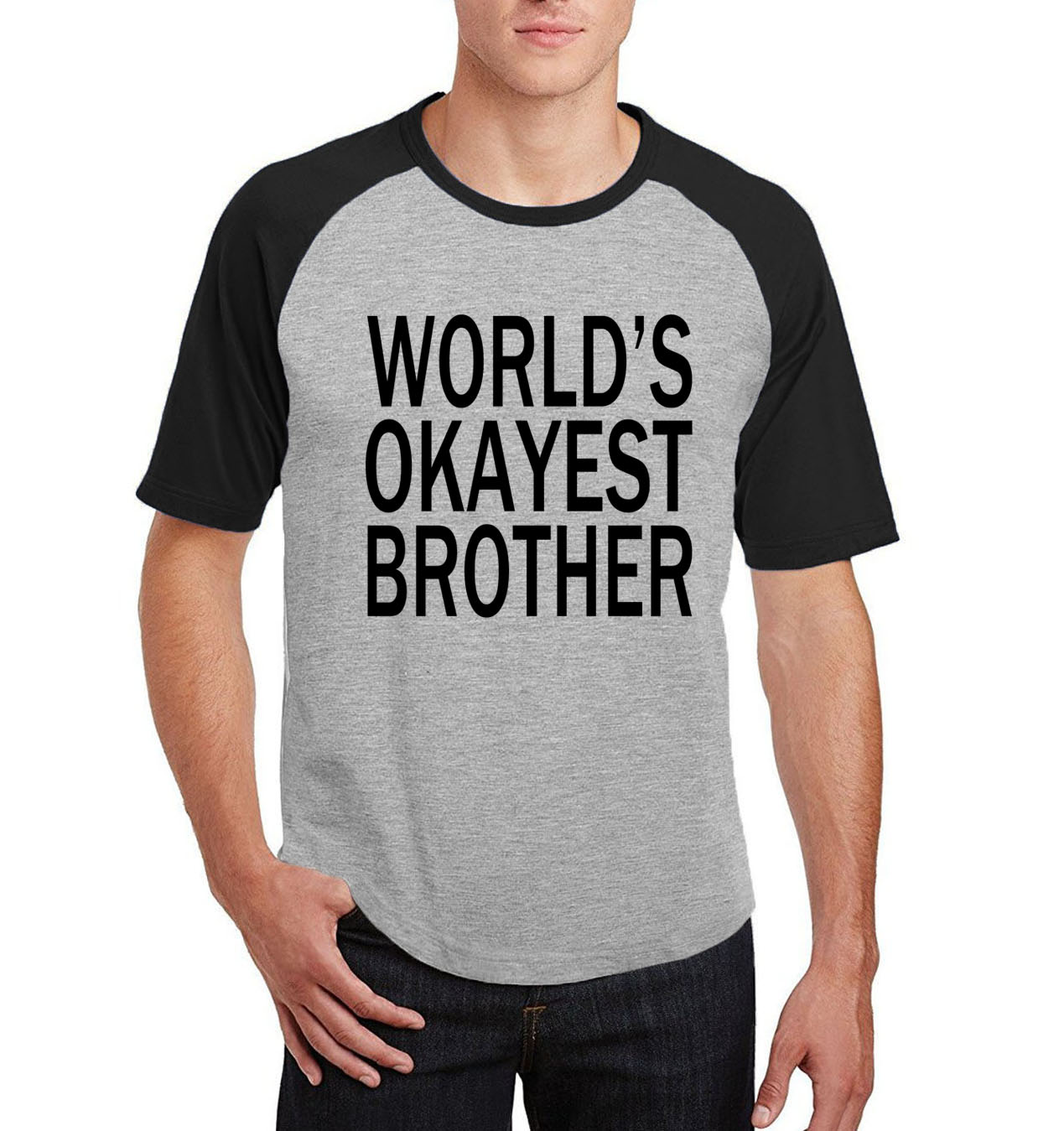 2019 summer o-neck raglan t shirt world's okayest brother letter print brand clothing men cotton short sleeve fitness camisetas