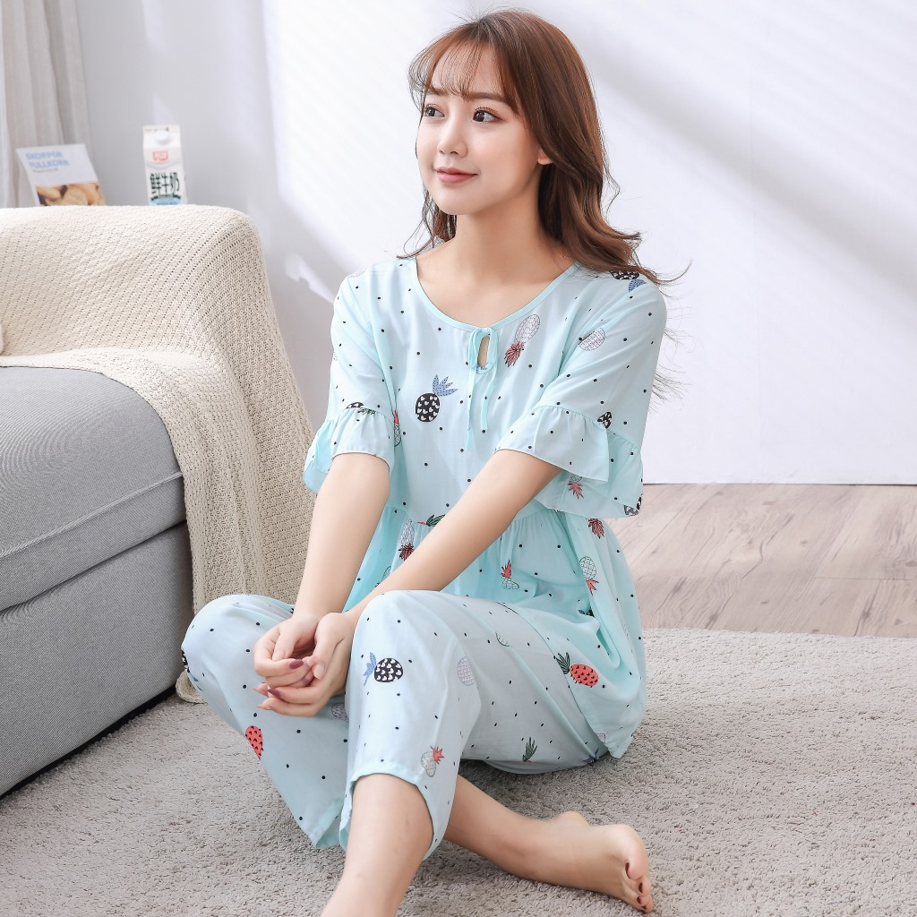 Casual Nightwear Loose Home Wear Summer New 2pcs Shirt&pants Home Clothes Female Flower   Pajamas     Set   Cotton Sleepwear M-xxl