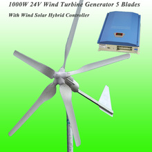5 лопастей, номинальная мощность 1000 Вт, 24 В, ветрогенератор и номинальная мощность 1 кВт, гибридный контроллер заряда, комплект ветрогенератора