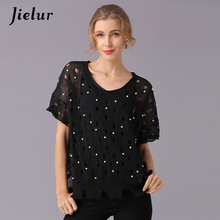 Jielur Hollow Out Beading Loose Female T-shirts Short-sleeved Solid Color Knitted T-shirt Personality White Black Pink Khaki Top