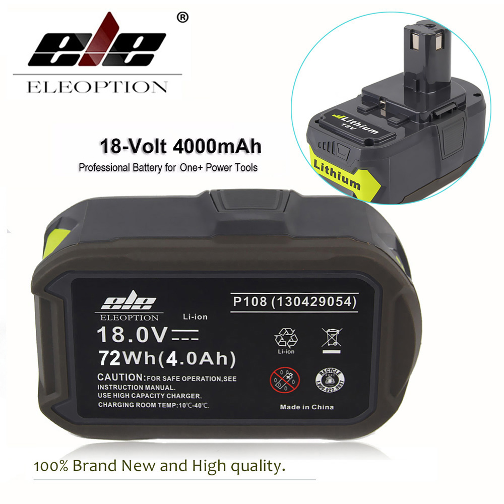 ELEOPTION 18V 4000mAh Li-Ion Rechargeable Battery For Ryobi 18v Lithium battery P108 P310 For ONE+ BIW180 ELEOPTION 18V 4000mAh Li-Ion Rechargeable Battery For Ryobi 18v Lithium battery P108 P310 For ONE+ BIW180