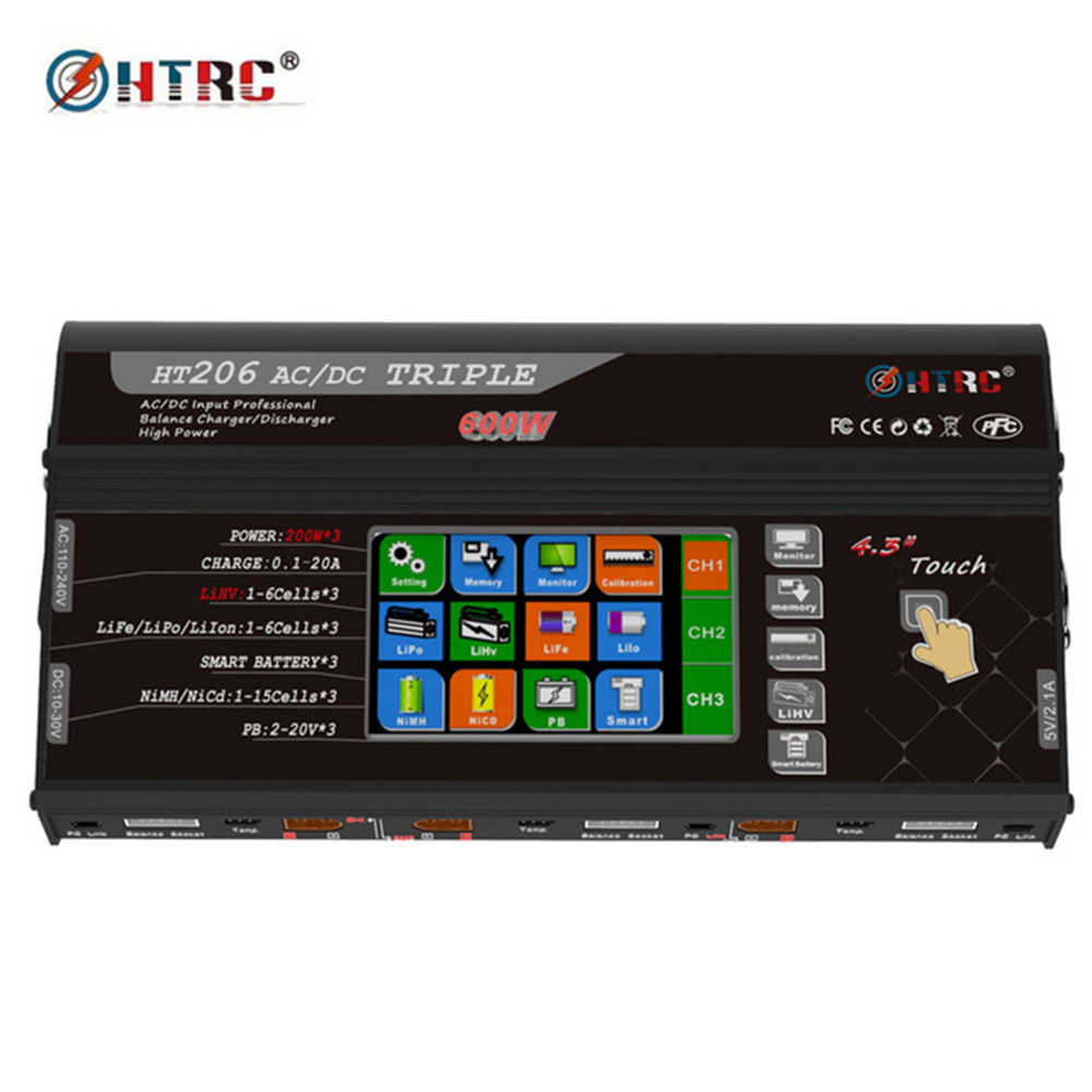 HTRC HT206 TRI Equilíbrio RC Carregador AC/DC 200 W * 3 20A * 3 Porta Triplo 4.3