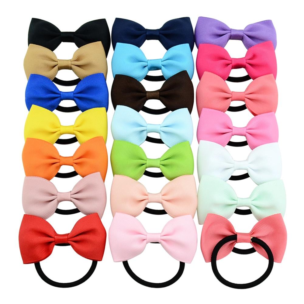 Разноцветные резинки для волос, 20 шт./лот, резинки для волос с бантом для девочек, аксессуары для волос 703
