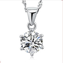 TJP New Fashion 925 Sterling Silver Necklace For Women Jewelry Shining Cubic Zircon Round Pendants Lady Accessories Hot