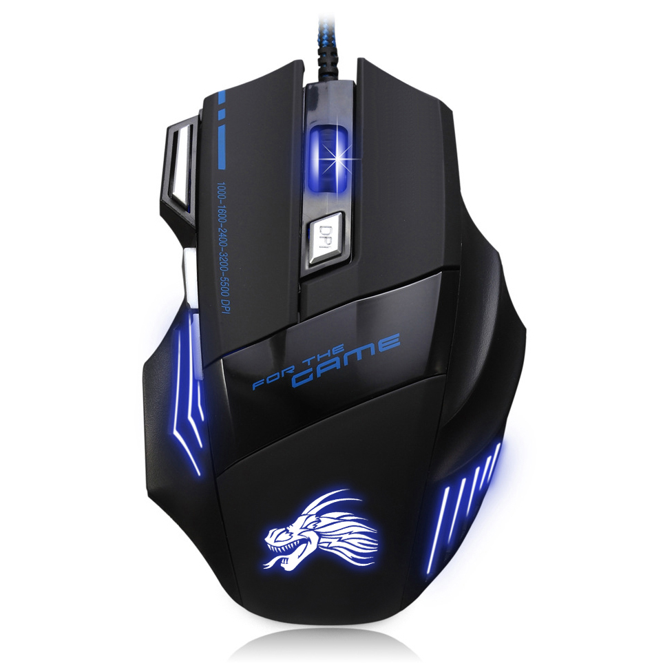 High Quality Professional Wired Gaming Mouse 7 Button 5500 DPI LED Optical USB Wired Computer Game Mouse Mice Cable Mouse dare u wcg armor soldier 6400dpi 7 programmable buttons metab usb wired mechanical gaming mouse