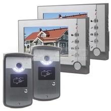 DIYSECUR 2 Cámara 2 Monitor de 7 pulgadas Video de La Puerta Teléfono Entrar ID Desbloqueo de Intercomunicación de Manos Libres LED de Visión Nocturna cámara