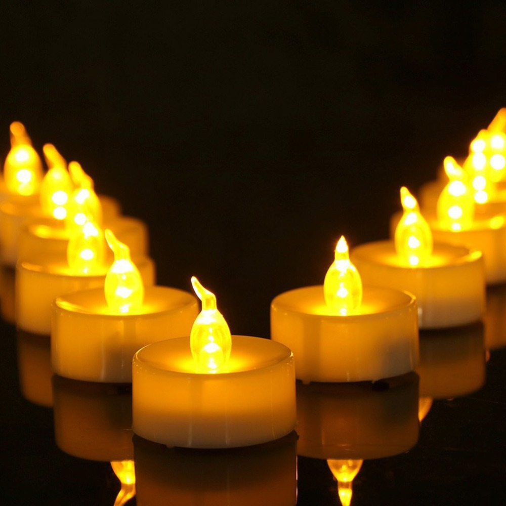 12 or 24 pieces Flickering <font><b>led</b></font> bougie battery electric candle light flameless yellow bombillas <font><b>led</b></font> wedding decoration church image