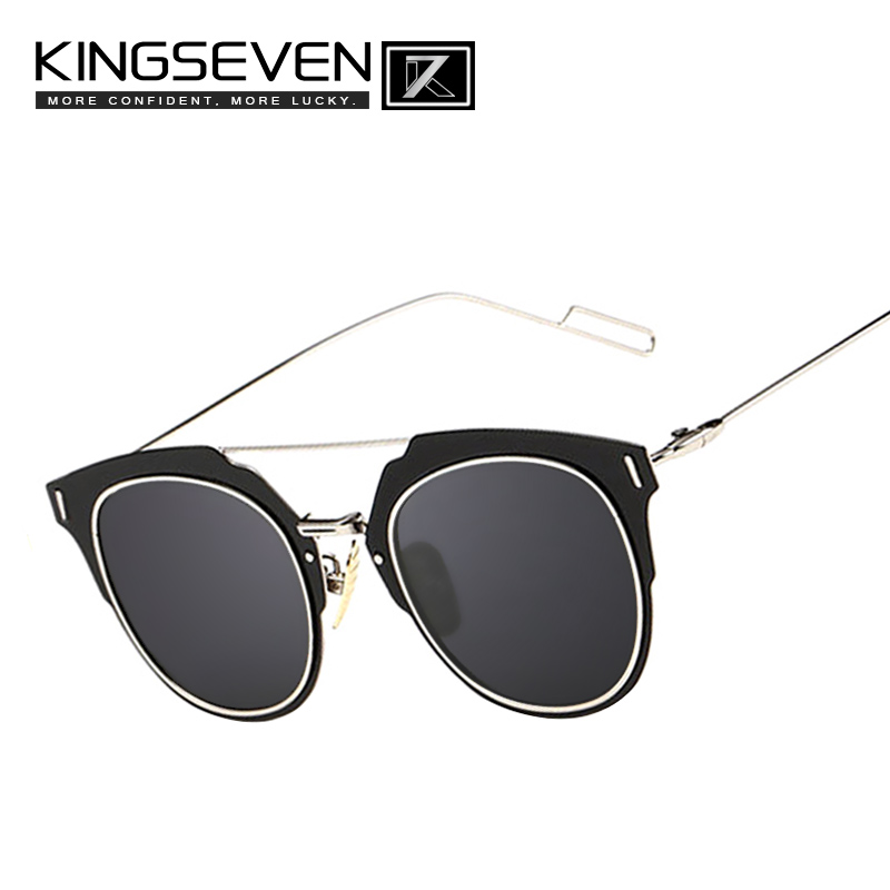 Kingseven 2015 Newest Fashion Women Brand Designer sunglasses Metal Frames Sunglasses Mirror lenses lunette de soleil