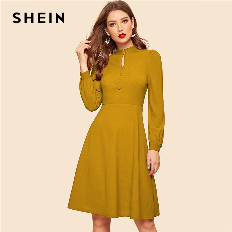 SHEIN Mustard Keyhole Neck Cutout Covered Button Detail Midi Dress Women Spring Autumn Solid High Waist Flared Vintage Dresses