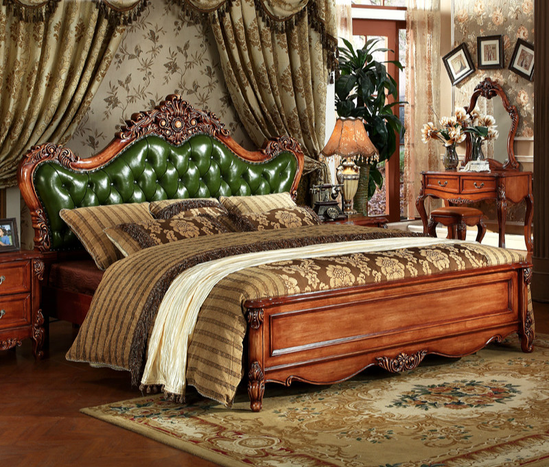 European Style Solid Wood Carved Bedroom Furniture,antique Solid Wood  Bedroom Furniture, Green/brown Bedroom Furniture