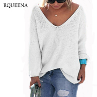 Rqueena Fashion Womens Casual Loose Pullover Polyester Sweater Autumn Women Long Sleeve V Neck Solid Color