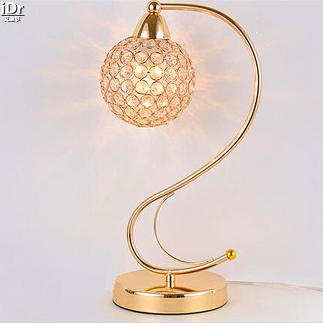 Einfache moderne dimmbare lichter kristall gold nachttischlampe ...