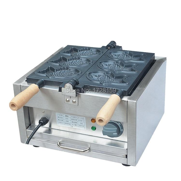 Commercial electric 3pcs fish taiyaki waffle making machine, electric fish waffle maker/taiyaki making machine high quality automatic gas taiyaki fish cake making machines