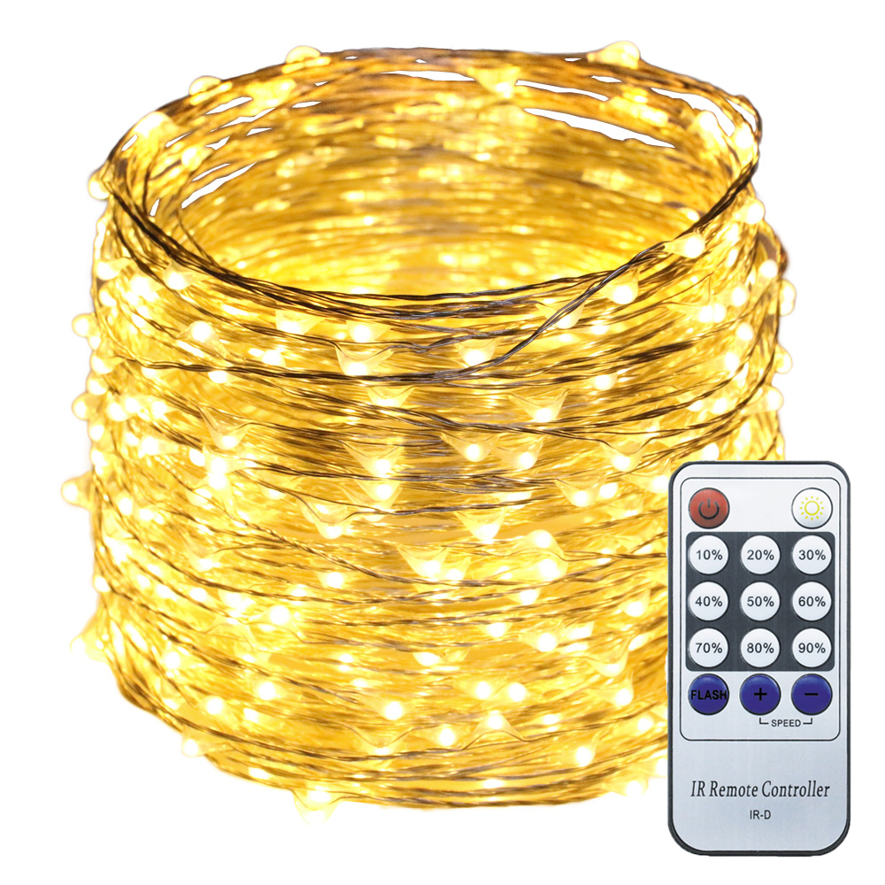 Warm White Light 20M / 30M / 50M LED Silver Wire String Lights Luci - Illuminazione festiva