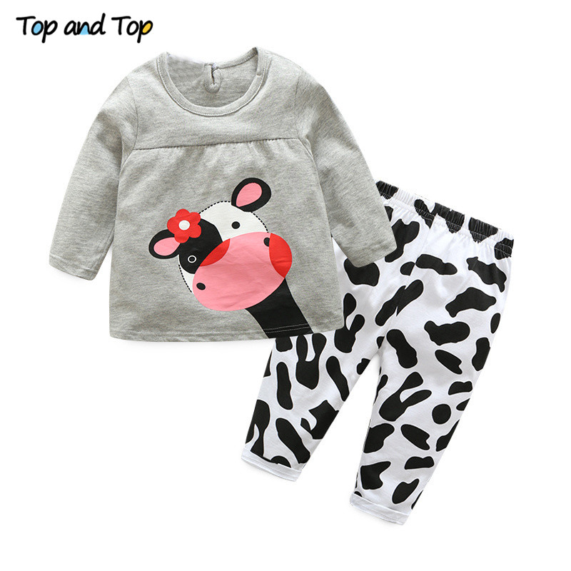 Hot sale spring autumn baby girl clothes casual long-sleeved T-shirt+Pants suit Tracksuit the cow suit of the girls