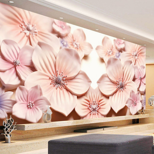 Custom Photo Wall Paper 3D Embossed Pink Flowers Mural Modern Art ...