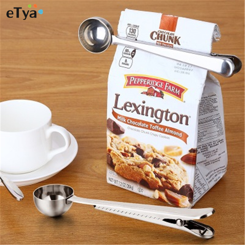 1 Pcs Multifunctional Stainless Steel Coffee Measuring Scoop With Bag Clip Sealing Tea Measuring Spoon Kitchen Tool