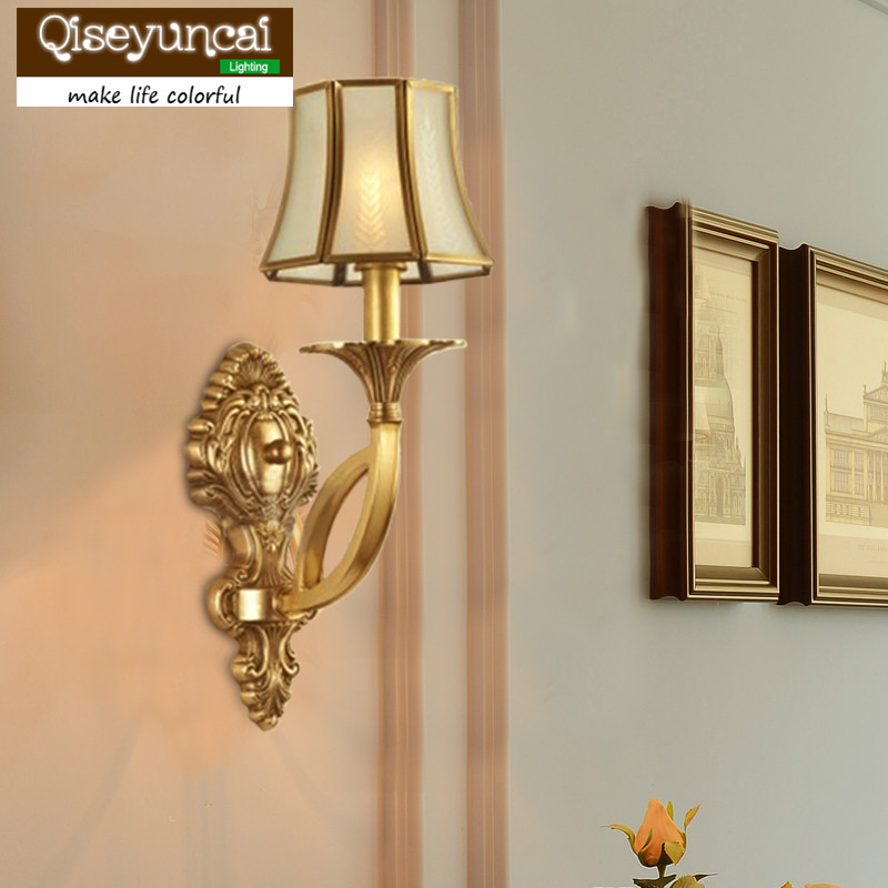 Qiseyuncai European style living room brass wall lamp pastoral style study bedroom aisle full copper wall lamp